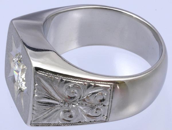 Pt900 印台 ダイヤ1.52 メンズ リング 54.8g #27号 磨き済 送料無料【y51】 プラチナ 男性用 指輪 ☆_画像5