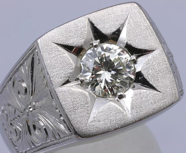 Pt900 印台 ダイヤ1.52 メンズ リング 54.8g #27号 磨き済 送料無料【y51】 プラチナ 男性用 指輪 ☆_画像2