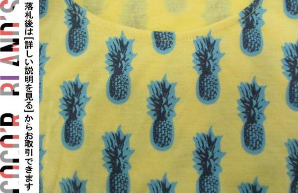 ツインルーム TWNROOM レディース トップス 半袖カットソー パイナップル柄 黄色 イエロー F_画像3