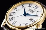 1円 シチズン 海外 エコドライブ 本革 ローマ数字 ゴールドカラー 新品 レア 腕時計