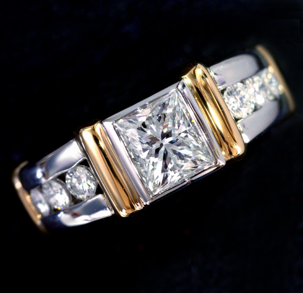 E5261大顆粒精緻鑽石1.081,0.28 c F VVS 2最高等級Pt 900/18純金純男女通用名人戒指 編號:f281432553