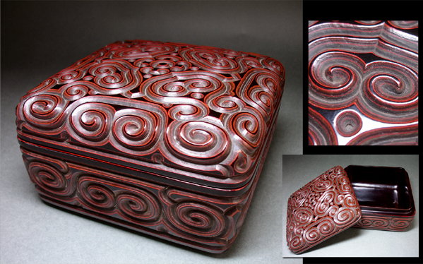 慶應◆清代中期頃 屈輪(倶利)四方盒子 剔犀蓋物 秀逸唐物茶道具