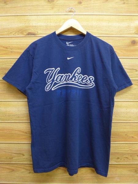 L★古着 中古 Tシャツ ナイキ NIKE MLB ニューヨークヤンキース 紺 17jul31 グッズの画像