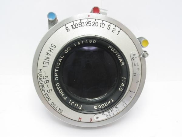 ★ハロ-カメラ★5799 組立暗箱、アンソニー用 (FUJINAR 25cm F4.5)大判用レンズ SHANEL-5B-S シャッター付き ボード無し 難有り動作品_画像2