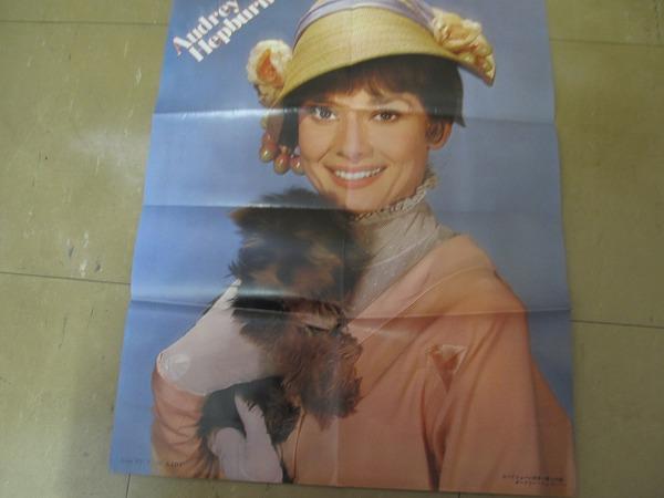 1802MK●ロードショー付録 両面ポスター「アラン・ドロン/オードリー・ヘプバーン」1973昭和48.11_画像2
