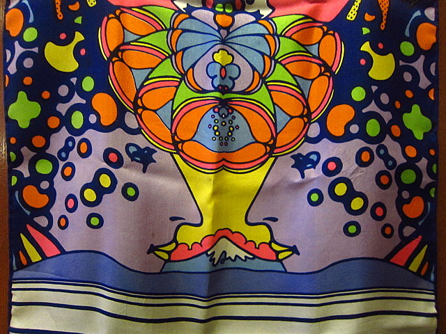 ビンテージ70's★Peter Maxシルクスカーフ★60sピーターマックスサイケポップアートレトロヒッピーメンズレディース1970s USA古着卸_画像4