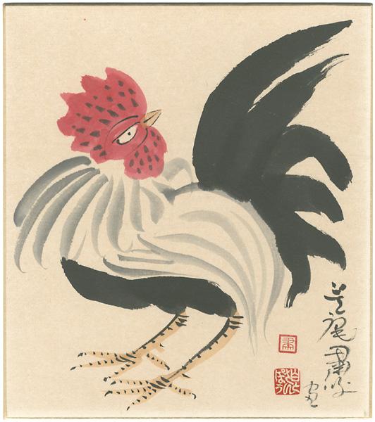 自筆画色紙 ≪ 粛粲宝 「鶏」 ≫ 墨彩 共帙_画像1