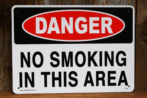 危険 禁煙 エリア プラスティック 看板 ◆ タバコ 禁止 区域 JSCA6_画像1