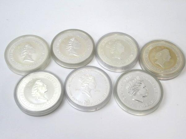 54150★1㎏銀貨 7枚セット 純銀7kg /オーストラリア30ドル(カワセミ)×5枚 + 干支(龍) + 日蘭交流400年記念_画像2