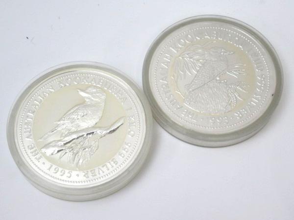54150★1㎏銀貨 7枚セット 純銀7kg /オーストラリア30ドル(カワセミ)×5枚 + 干支(龍) + 日蘭交流400年記念_画像3
