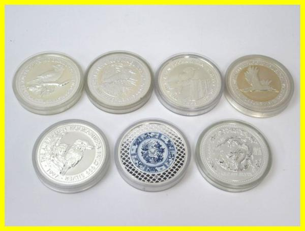 54150★1㎏銀貨 7枚セット 純銀7kg /オーストラリア30ドル(カワセミ)×5枚 + 干支(龍) + 日蘭交流400年記念