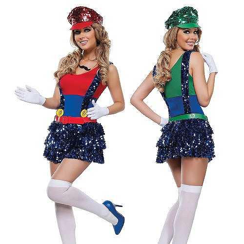 スーパーマリオ ルイージコスプレ衣装 ハロウィン 服 レッド M グッズの画像